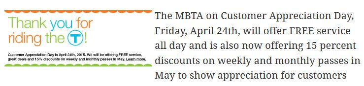 MBTA customer appreciation day