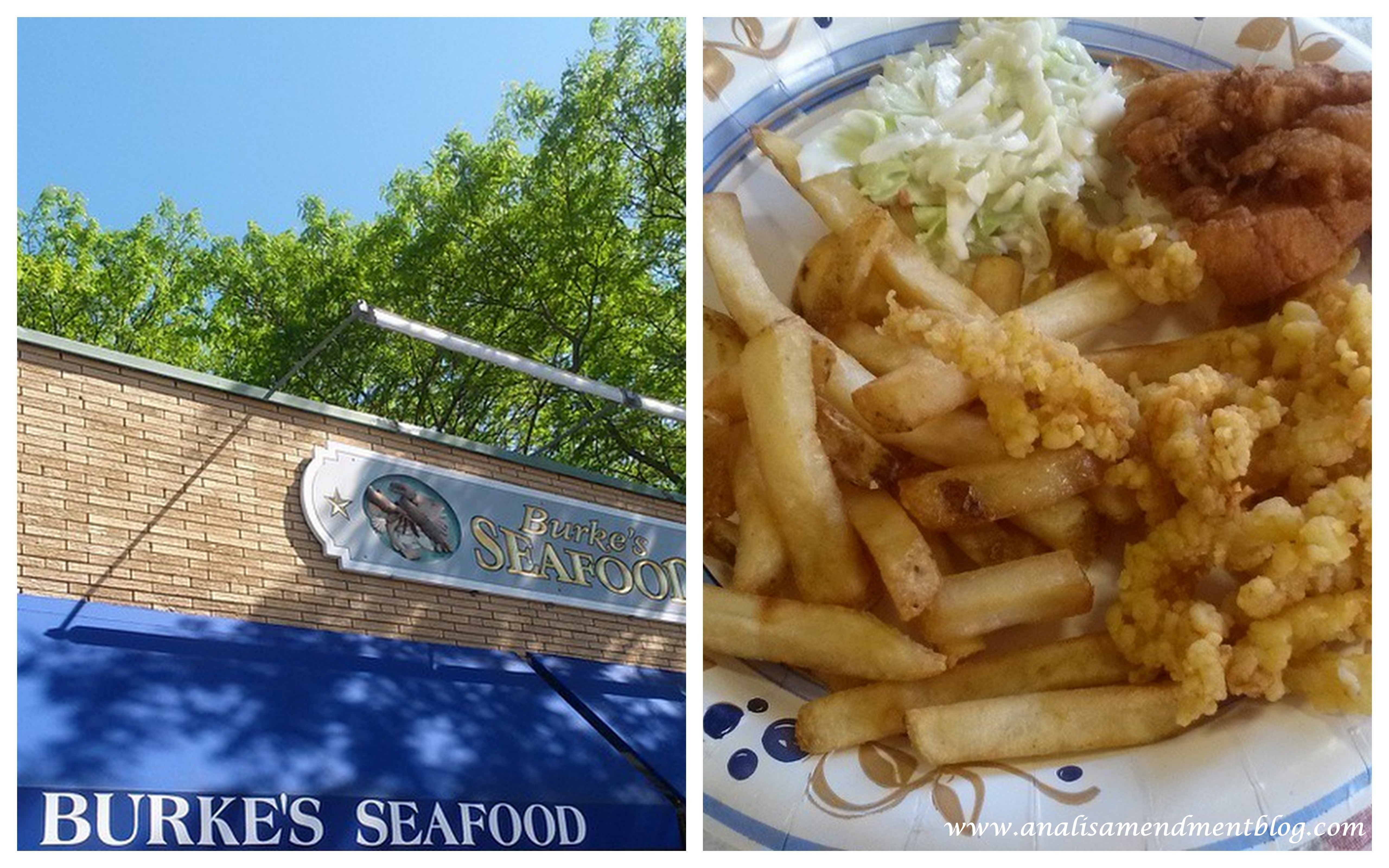 Burke's Seafood sign and seafood platter