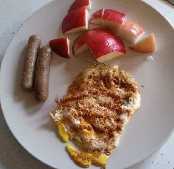 egg sausage apple breakfast