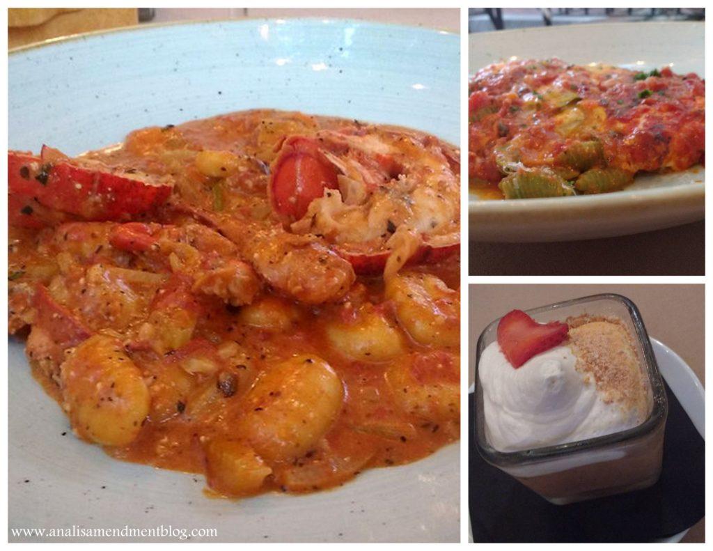 Entrees and dessert at Novara restaurant.
