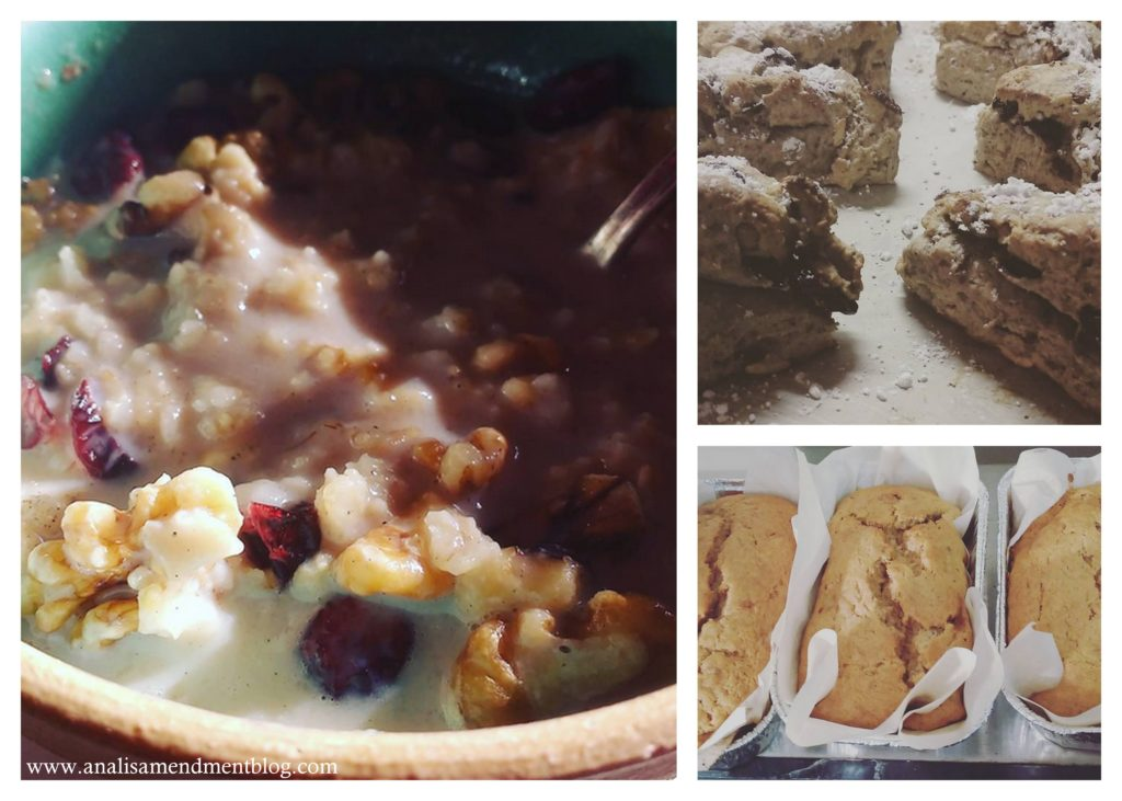 Picture of oatmeal, scones, banana bread, winter foods that evoke hygge.