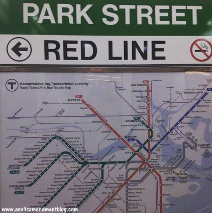 Park Street sign along with map of the MBTA subway lines.