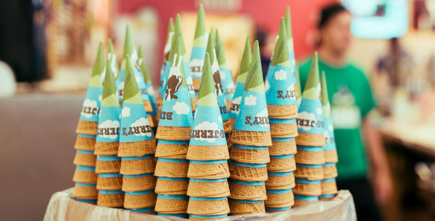 Stacks of upside down Ben & Jerry's ice cream cones.