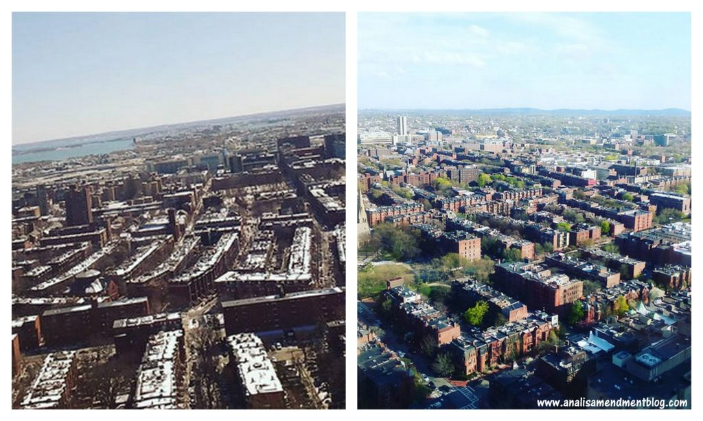 Two aerial images of Boston, the left shows snow covered rooftops, the right shows green tree lined streets.