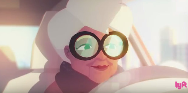 Animated photo of older women with big glasses driving a car.