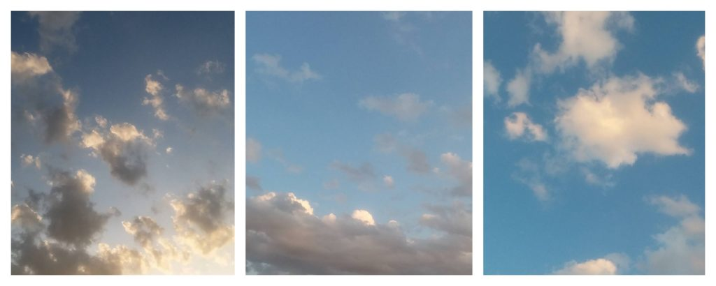 Three picture collage, each with blue sky and clouds.