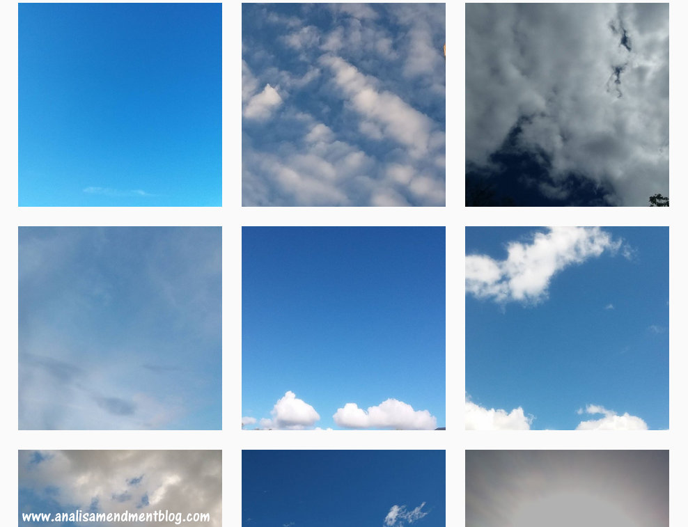 Collage with several pictures of blue skies with clouds.