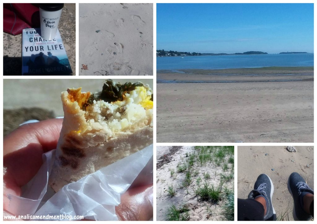 Collage of six pictures, sandy beach with water, sea grass, a book with travel mug, a hand holding an egg sandwich, feet with grey sneakers over the sand.