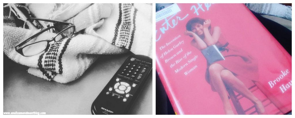 Black and white photo of striped blanket on left, color photo on right showing book cover, denoting parts of my Sunday..