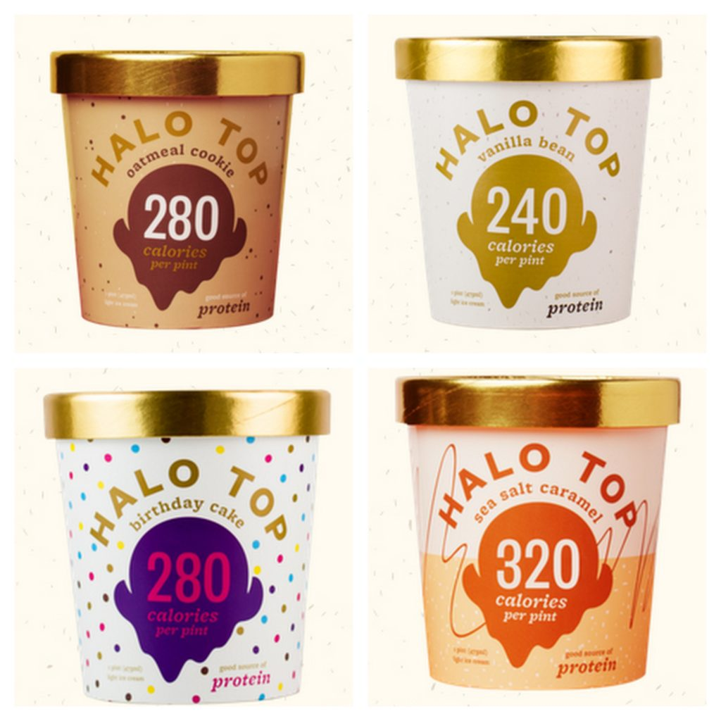 Collage with four containers of Halo Top ice cream.