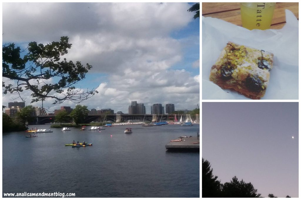"Taking note of a tree branch in the foreground, puffy white clouds, blue sky, a dock, boats and canoes in the Charles River in Boston, with buildings in the background. On the right, two small pictures, the top is a square piece of cherry and pistachio tart on a napkin and minted lemondade in a plastic cup with the word ""Tatte"" printed vertically, the bottom picture shows the moon rising in a bluish grey sky over the tops of trees."