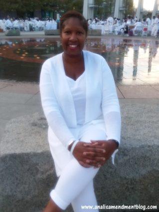 Me dressed in all white for Dîner en Blanc Boston