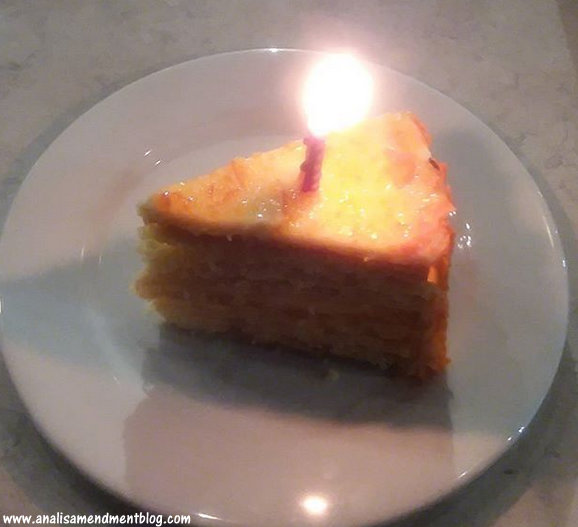 Birthday cake with a candle.