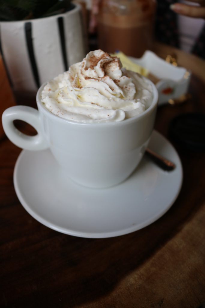 hot chocolate topped with whipped cream