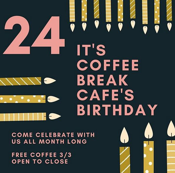 coffee break cafe turns 24