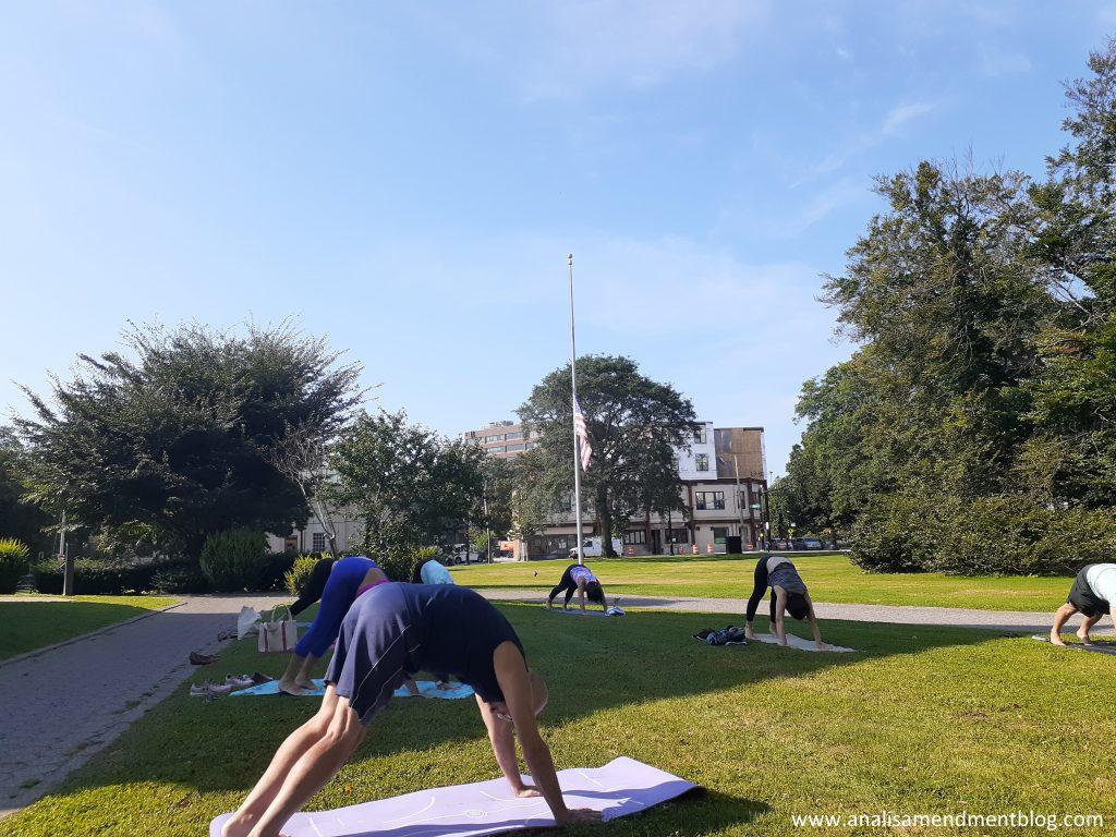 yoga on the libary lawn